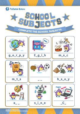 Вписуємо пропущені букви: «Шкільні предмети» (англійська мова)