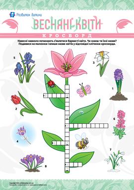 Чайнворд у малюнках «Весняні квіти»