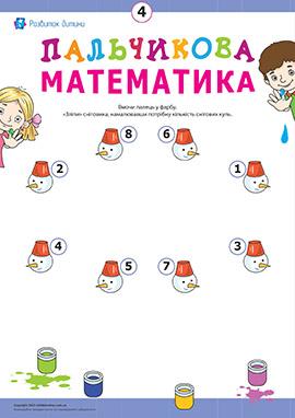 Пальчикова математика: малюємо сніговиків