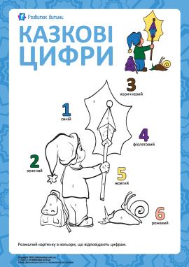 Казкова розмальовка за цифрами №3
