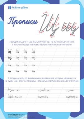 Прописи: літера Щ (російська абетка)