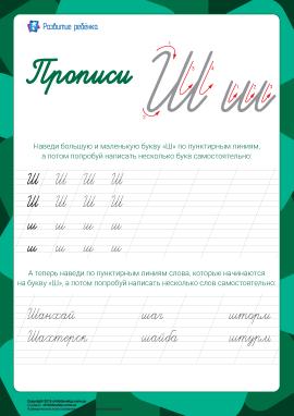 Прописи: літера Ш (російська абетка)