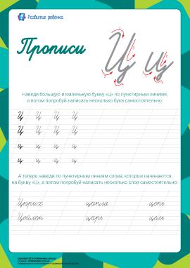 Прописи: літера Ц (російська абетка)