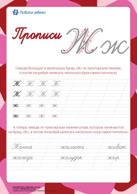 Прописи: літера Ж (російська абетка)
