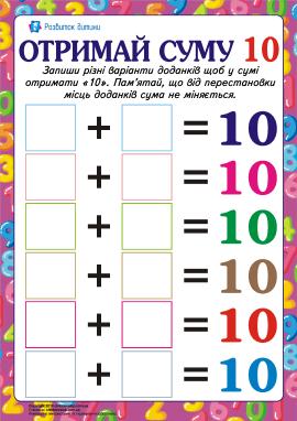 Знайди доданки числа «10»