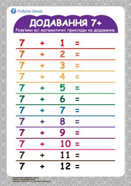 Таблиця додавання 7+