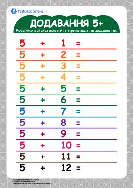 Таблиця додавання 5+