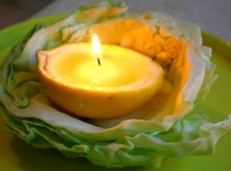 Рукотворні свічки з лимонних шкірок в еко-стилі