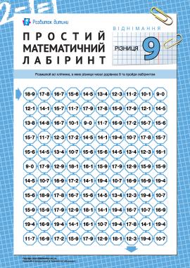 Математичний лабіринт: різниця «9»