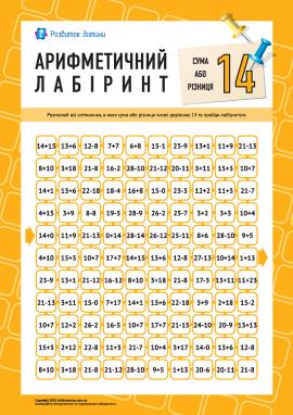 Лабіринт: сума або різниця «14»
