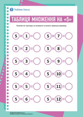 Таблиця множення числа «5»