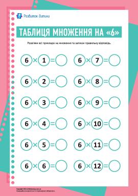 Таблиця множення числа «6»