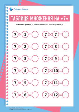 Таблиця множення числа «7»