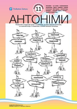 Розмалюй антоніми і синоніми №11 (українська мова)