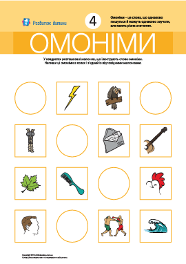Омоніми № 4 (блискавка, миша, лист, гриф)
