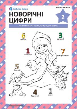 Розмальовка «Новорічні цифри» № 2