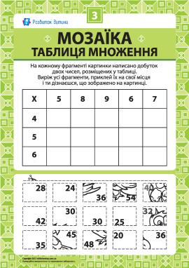 Складаємо мозаїку «Таблиця множення» № 3