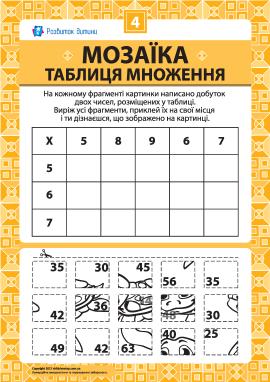 Складаємо мозаїку «Таблиця множення» № 4