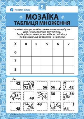 Складаємо мозаїку «Таблиця множення» № 5