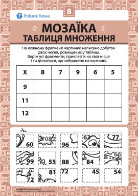 Складаємо мозаїку «Таблиця множення» № 8