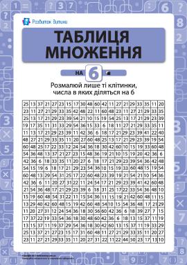 Розмальовка «Вчимо таблицю множення на 6»