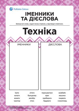 Вивчаємо іменники та дієслова № 5: «Техніка»