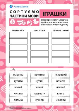Сортуємо частини мови №4 – тема «Іграшки»