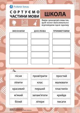 Сортуємо частини мови №6 – тема «Школа»