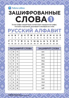 Зашифровані слова (російська мова) № 1