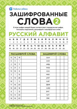 Зашифровані слова (російська мова) № 2