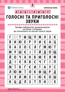 Голосні та приголосні звуки № 1 (українська мова)