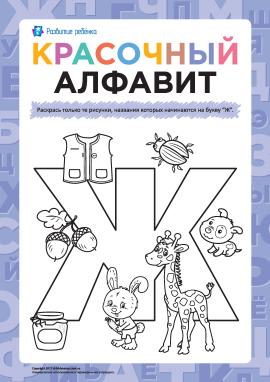 Розмалюй малюнки на літеру «Ж» (російська абетка)