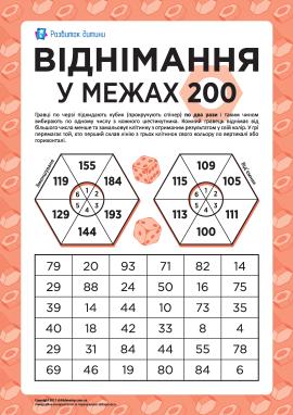 Віднімання трицифрових чисел в межах 200