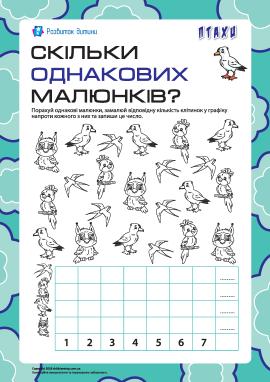 Скільки однакових малюнків: рахуємо птахів