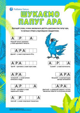 Словниковий запас: шукаємо папуг ара