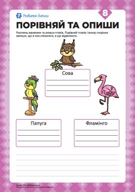 Опиши малюнки та порівняй №8 (птахи)