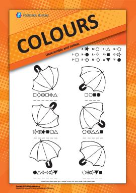 Назви кольорів англійською: розфарбуй парасольки