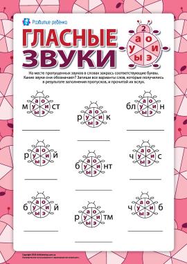 Розрізняємо голосні звуки та літери №2 (А, О, У, И, Э, Ы) (російська мова)