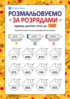Розмальовуємо та вивчаємо розряди чисел до 1000