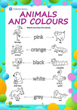 Назви кольорів англійською: розфарбуй тварин