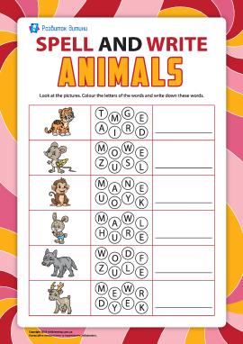Пишемо по літерах назви тварин (англійська мова)
