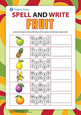 Пишемо по літерах назви фруктів (англійська мова)
