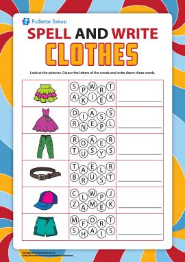 Пишемо по літерах назви предметів одягу (англійська мова)