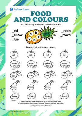 Назви кольорів англійською: їжа
