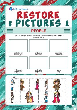 Виріж і наклей правильно зображення різних людей (англійська мова)