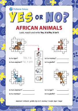 Ствердження і заперечення в англійській мові. Африканські тварини №7