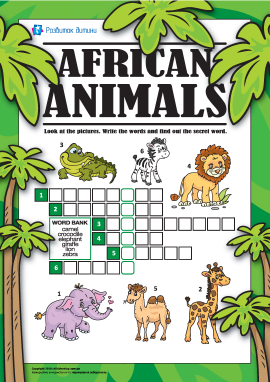 Кросворд англійською «Африканські тварини»