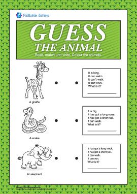 Вивчаємо can/can't та has got/hasn't got: вгадай тварину