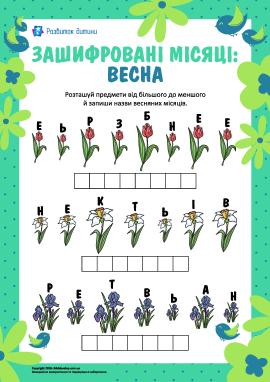 Анаграми «Зашифровані місяці: весна»