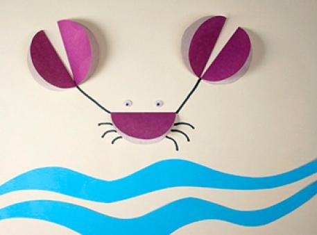 Краб: проста дитяча аплікація на морську тематику